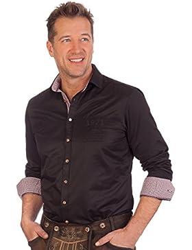 H1646 - Trachtenhemd mit langem Arm - weiß, schwarz