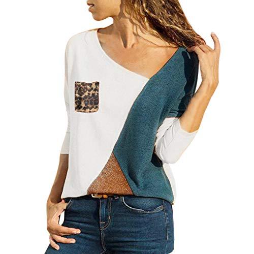 us Size Asymmetric V-Neck Pullover Shirts V-Ausschnitt Leopard Farbblock Langarmshirt Freizeit Lose Sweatshirt Tops Oversized Basic-Oberteile Blusen Sweater Frühling Sommer 2019 ()