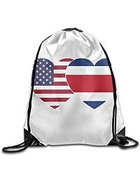 Costa Rica USA Twin Flag Gym Drawstring Backpack Unisex Portable Sack Bag