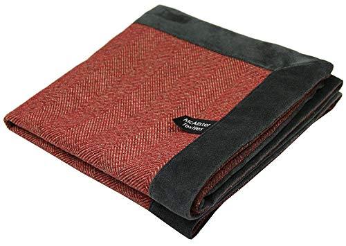 McAlister Textiles - Signature Kollektion   Herringbone Boutique Tweed Überwurf mit Samt umrandet 200cm x 254cm in Rot mit Grau   Decke für Sofa, Bett, Sessel, Picknick mit Wolle-Gefühl