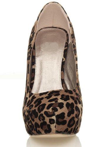 haut taille Daim talon fête Femmes compensée semelle escarpins plate Léopard forme chaussures 4awRTx