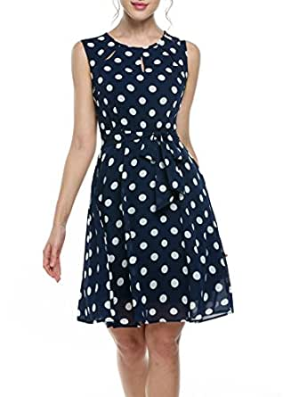zeagoo damen neckholder sommerkleid flie endes chiffonkleid mit polka dots strandkleid a linie. Black Bedroom Furniture Sets. Home Design Ideas