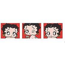 """Impresión artística / Póster: Max Fleischer """"Betty Boop (Red Triptych)"""" - Impresión de alta calidad, foto, póster artístico, 95x33 cm"""