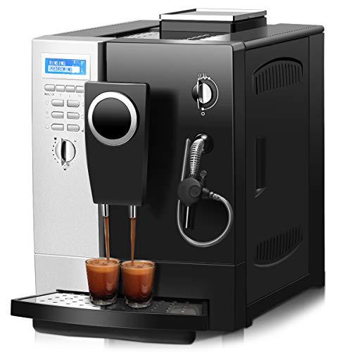 COSTWAY Kaffeevollautomat Kaffeemaschine Milchaufschäumdüse / 2-Tassen-Funktion / 2 L Wassertank / 1200W / Edelstahl / 19 Bar / 80-90℃ Temperaturregelung