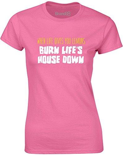 Brand88 - Burn Life's House Down, Gedruckt Frauen T-Shirt Azalee/Weiß