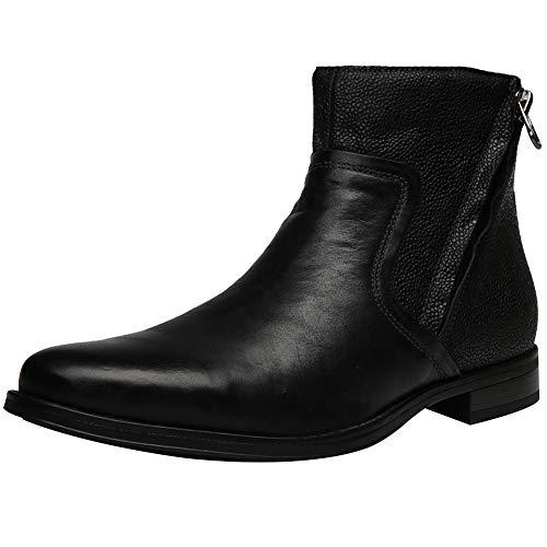 Jamron uomo stile retrò classy vera pelle stivali chukka stivaletti con zip laterale nero sn01747 eu43