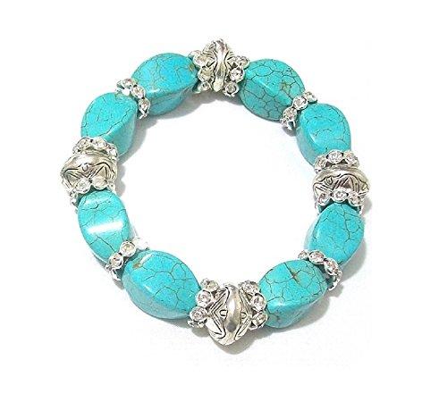 Frauen Türkis Perlen Kristall mit Bridesmaid Bridal Armband Armreif Geschenk Kostüm Schmuck (Türkis Kostüm Schmuck Uk)