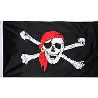 Bandera de Pirata Jolly Roger de Poliéster Bandera de Cráneo con Bufanda Roja para Fiesta de Pirata, Día de Pirata, Decoración Temática de Pirata de Halloween, 1 Pieza, 3 por 5 Pies