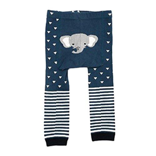 Medias de bebé niño, hibote Pantimedias de algodón Patrón animal lindo Noveno Medias de polainas Navy Elephant M/2-4 years