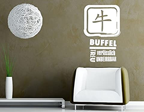 Wall Decal no.UL790 Chinese Buffalo, Colour:Creme;Dimensions:100cm x 64cm