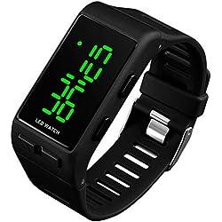 RSVOM Montres Bracelet numériques pour Hommes Femmes, 30M étanche Montre numérique Sport avec Alarme pour Adolescents Filles garçons, Unisexe électronique LED extérieure Noire à Montre Bracelet