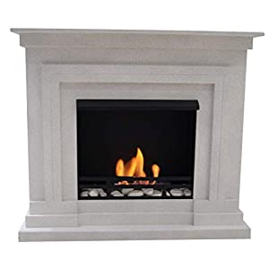 Mierzwa (Df-Shopping) Berlin Deluxe Fireplace Set Ethanol and Gel Fireplace with Accessories 3 Litres Adjustable Burner White