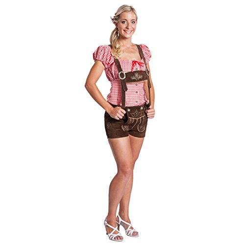 FROHSINN Damen Trachten Lederhose kurz, 100% Leder, Kurze Trachtenlederhose für Oktoberfest –...