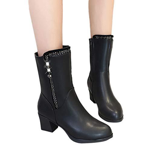 TianWlio Stiefel Damen Draussen Quadratische Ferse Warm Leder Booties Reißverschluss Strass Runde Zehen Schuhe Black 39