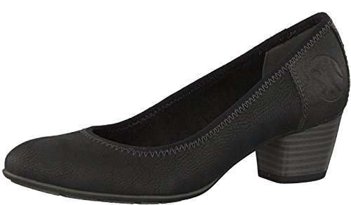 s.Oliver Damen Pumps 22408-21,Frauen Pumps,Modisch,Sportlich,Bequem,Court-Shoe,Freizeit,Business,Sommerschuh,Soft Foam Decksohle,Blockabsatz 4cm,Black,EU 38