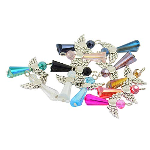 B Baosity 12X Forma de Plata Tibetana Ángel Corazón ala Cristal Colgante para Decoración Accesorio de Joya de Fabricación de Abalorios y Bisutería