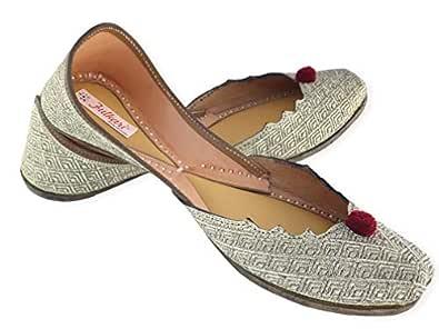 Fulkari Women's Susan Antic Gold Genuine Soft Leather Jutis | Bite and Pinch Free Jutis | Punjabi Formal Jutti Flat Ladies Mojari | Bridal Ethnic Flats | 35