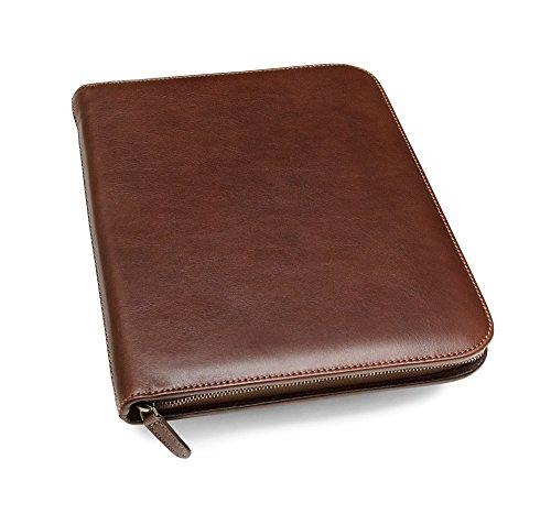 Maruse Leder-Padfolio A4, luxuriöse Ledernotizmappe, Dokumentenmappe, Brieftasche - In Italien hergestellt (Braun) -