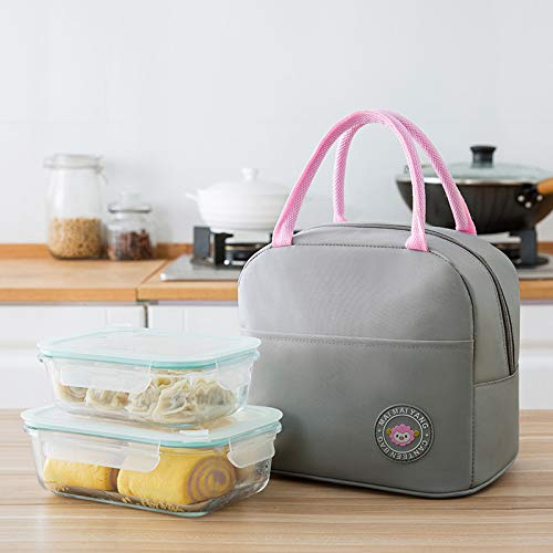 Insulated Lunch Bag Tote Bag Spacious Cool Bag Waterproof Leak-Proof Insulation Lunch Collection Bag Children Outdoor Picnic Box Storage Bag 18 X 22 X 16Cm Small Gray -