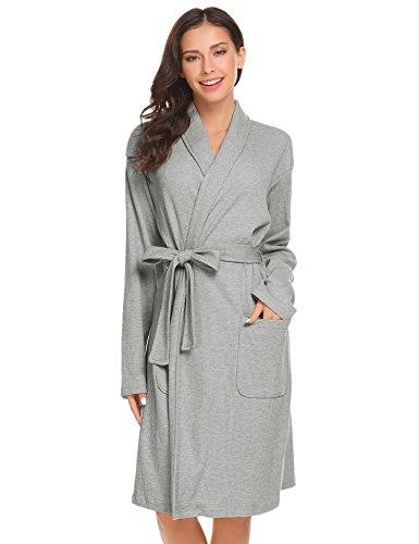 Tomasa Damen Bademantel Morgenmantel Schal Kragen Wrap Robe Langarm Nachtwäsche mit Gürtel Schlafrock Robe Schlafanzug pyjama, Größe XXL, Farbe Grau