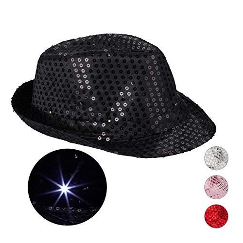 Relaxdays 10023897_46 Pailletten Hut, 6 blinkende LED, mit Glitzer, Männer & Frauen, JGA, Fasching, Partyhut, Einheitsgröße, schwarz, Unisex– Erwachsene