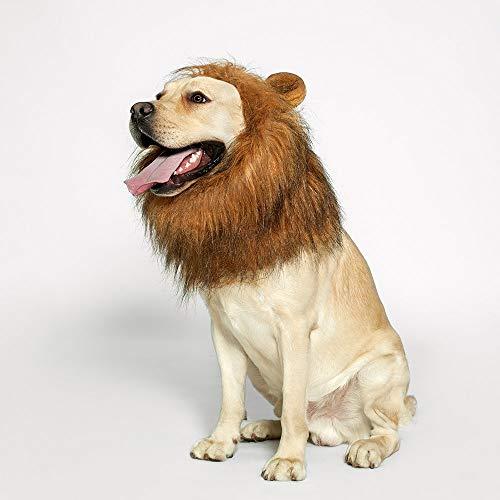 XinC Hund Lion Mähne Haustier Halloween Dress Up Lustige Lion Mähne Mittelgroßer Hund Zu Großer Hund Lion Perücke Hund Dekoration,Lightbrown