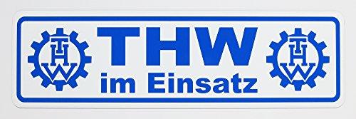 Magnetschild THW im Einsatz | Schild magnetisch | Weiss/blau, lieferbar in DREI Größen (65 x 19 cm)
