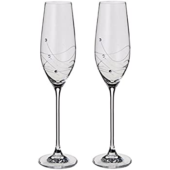 Dartington Crystal - Glitz Champagne Flutes, Set of 2 - Gift Boxed