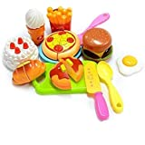 Hobnot 14 Pcs Realistic Sliceable Cutting Fast Food Kitchen Set Toy With Various Items Like Pizza, Burger, Prawn, Crab & Many More, Knife, Spoon, Fork For Kids,Multi Color.