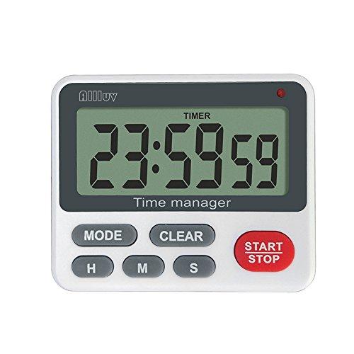 Allluv Digital Küche Timer Magnetisch Zeitschaltuhr 12H Countdown Timer Elektronischer Lautlos Timer mit Stoppuhr und Schallendem Alarm Großem LCD Display Einklappbarer Hänger Ständer Weiß