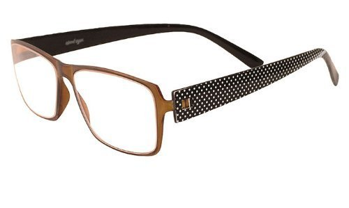 About Eyes G247 Harold Brown Frame Black with White Spot Temples Reading Glasses by About Eyes