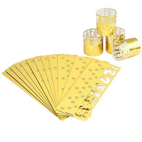 flintronic® LED Papier Teelichthalter, 12 Stück Papier Wrapper Kerzenhalter für Dekoration, Hochzeit, Geburtstag, Halloween, Weihnachten (Kerze nicht im enthalten)-Gold Weihnachtsbaum