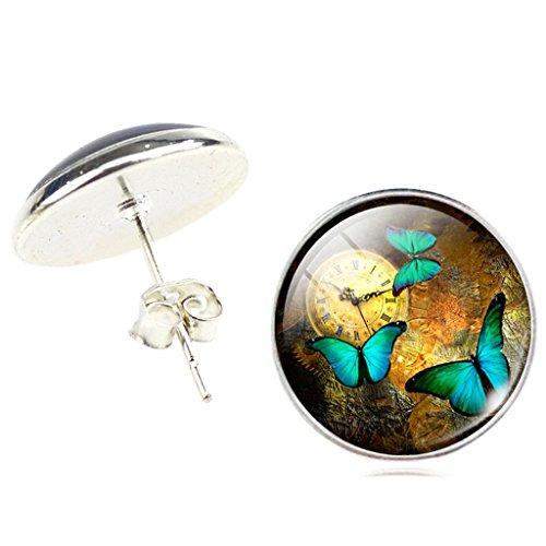 Frauen Jahrgang Uhr Grün Schmetterling Ohrstecker Ohrringe - 3