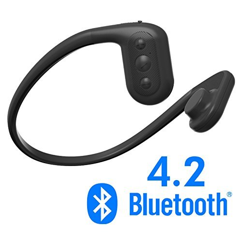 Tayogo IPX8 MP3 bone conduction headphones waterproof FM radio 8GB Bluetooth 4.2 Pedometer APP underwater 5m for any sport no matter with water like swimming ridding running hiking walking and so on (Black)