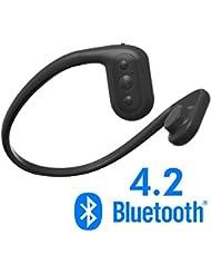 Tayogo IPX8 MP3 conducción ósea Auriculares Impermeable FM Radio 8 GB Bluetooth 4.2 Podómetro App,