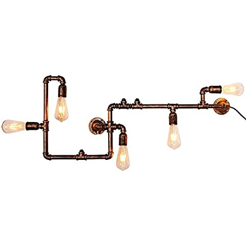 BJVB Restaurante de lámpara de tubería de hierro retro bar cafetería industria creativa pipa de agua pared lámpara iluminación decoración en las paredes de la sala en los apliques de pared de dormitorio