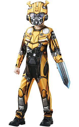 Rubie's Official Transformers Bumblebee The Movie Costume, Deluxe Bumblebee Character Childs Size Large Age 7-8 years