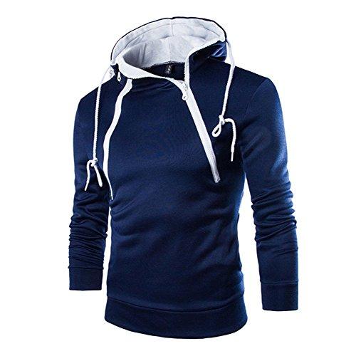 Meedot Hommes Sweat à Capuche Fermeture éclair Sweatshirts Arrêtezvous Longue Manche Hoody Transpiration Chemises Tops Svelte en Forme Cavaliers Encapuchonné Décontractée Top Noir Bleu Blanc M - 3XL