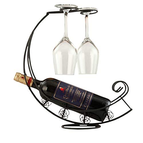 THEE Kreativ Weinregal mit Weinglashalter Flaschenregal mit Platz für 1 Flaschen und 2 Gläser Weinflaschenhalter