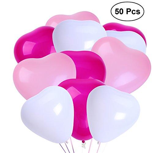 NUOLUX Herz Luftballons,10-Zoll LatexLuftballons für Party-Accessoires, 50 Stück (Weiß + Rosa + Rose Rot)