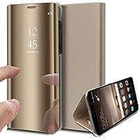 Uposao Huawei Honor 8X Spiegel Klapphülle Lederhülle Überzug Mirror Effect Strass Flip Schutzhülle Ledertasche Handyhülle Clear View Leder Flip Case Cover Handytasche,Gold
