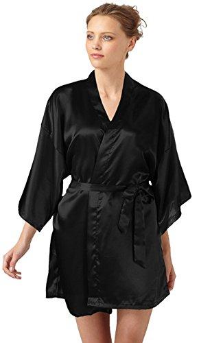 SlickBlue Frauen Kimono Robe Satin Brautjungfer Lounge Nachtwäsche -Dunkles Schwarz (Print-satin-robe)
