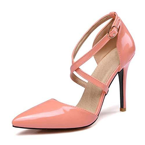 Zapatos Mujer - Scarpe da Donna con Tacco Alto, Tacco Sottile, Punta a Punta, in Pelle Verniciata, Cinturino Incrociato, Rosa (Mocassini Eleganti da Donna), 39 EU