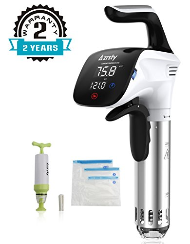 Azrsty Sous Vide Stick, Präzisionskochtopf Immersion Zirkulator mit Hand-Vakuumierer, 5 Zip-Beuteln und Rezepten (Weiß)