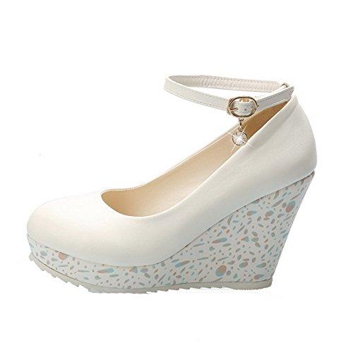 VogueZone009 Femme Matière Mélangee Boucle Rond à Talon Haut Couleur Unie Chaussures Légeres Blanc