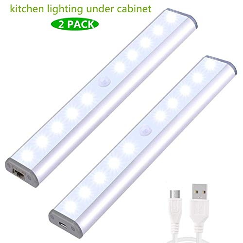 2 Pack Anywhere Portable Little Light Wireless LED Under Cabinet Lights 10-LED Motion Sensor Activated Night Light Build In Rechargeable Battery Magnetic Tape Lights for Closet, Cabinet (Silver2)