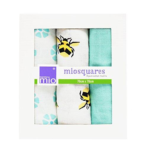 Bambino Mio, miosquares (Mulltücher), Honigbiene, 70x70cm (3er Packung)