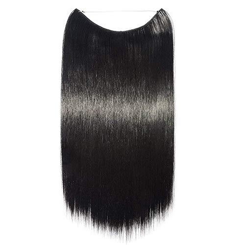 Extension filo invisibile capelli lunghi lisci nero scuro - fascia unica wire trasparente 50cm one piece hair extensions 3/4 full head