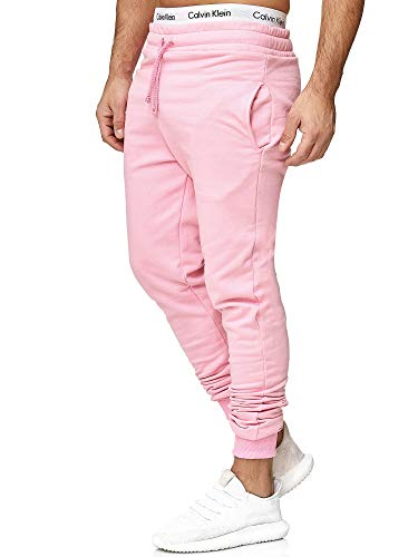 OneRedox Herren | Jogginghose | Trainingshose | Sport Fitness | Gym | Training | Slim Fit | Sweatpants Streifen | Jogging-Hose | Stripe Pants | Modell 5000C Pink L
