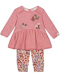 e8399eb7454a Mantaray Kids Baby Girls' Dark Pink Floral Embroidered Top and Leggings Set